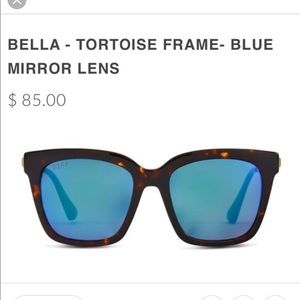 DIFF Bella Tortoise Blue Mirror Polarized Sunnies